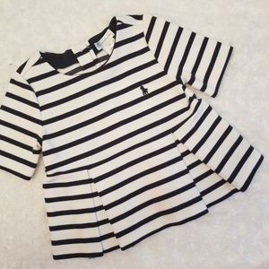 White with navy striped peplum Ralph Lauren top!